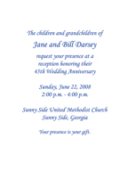 Forty Fifth Wedding Anniversary Party Invitation
