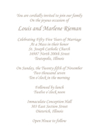 Fifty Fifth Wedding Anniversary Party Invitation