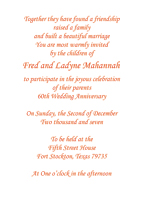 Sixtieth Wedding Anniversary Party Invitation